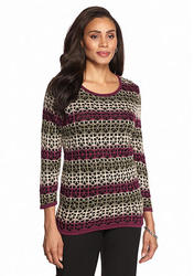 Alfred Dunner Women's Calabria Lace Striped Sweater - Multi - Size: PL