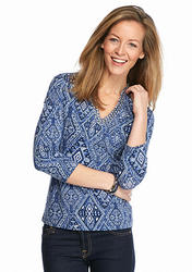Ruby Rd Petite Must Haves Three-Quarter Sleeve Diamond Ombre Print Knit Top Chambray Multi