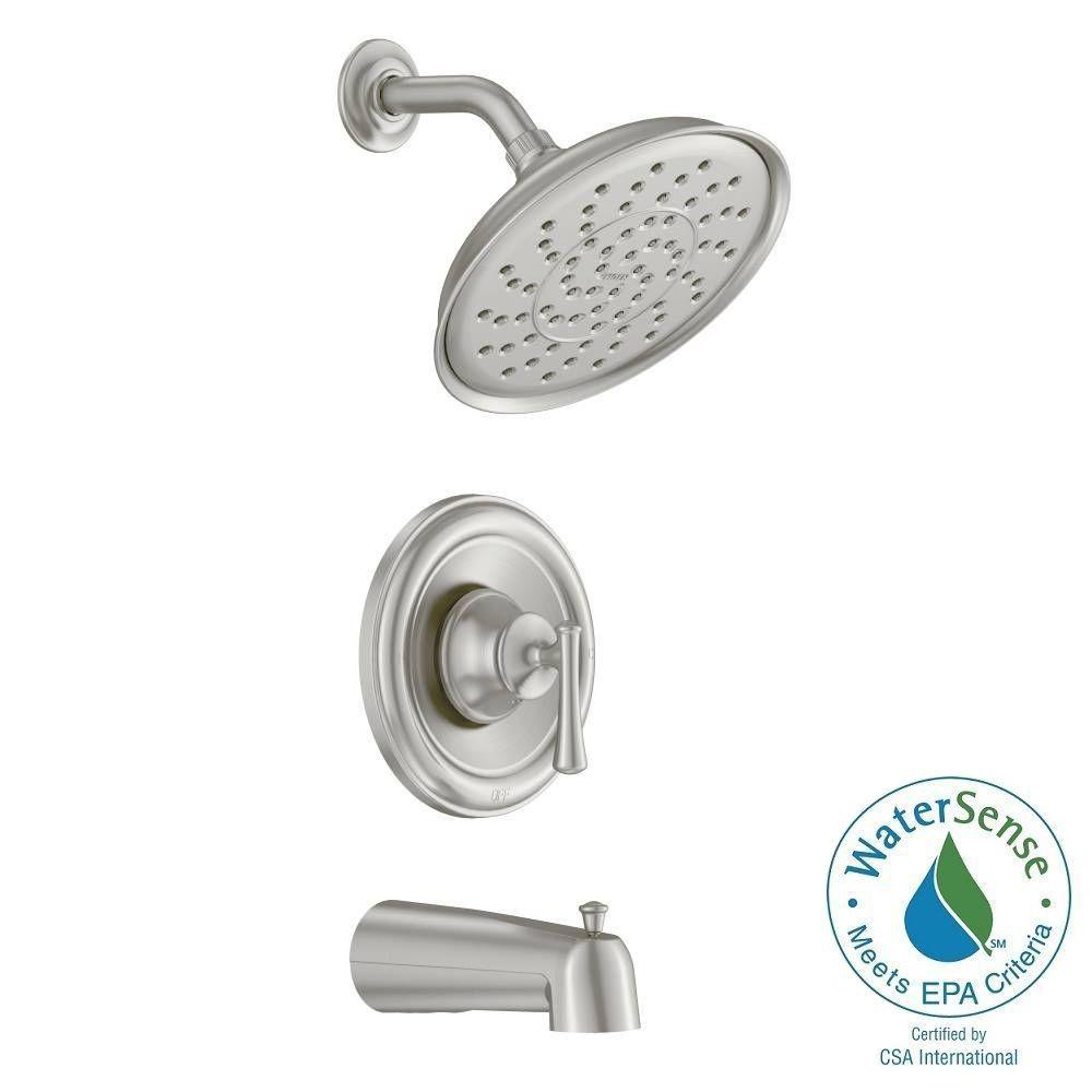 Moen Ashville Single Handle 1 Spray Tub And Shower Faucet Brushed