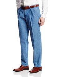 Lee Men's Stain Resistant Pleated Denim Pant - Blue - Size: 38Wx30L