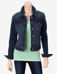Fire Women's High-Back Denim Jacket - Blue - Size: Large