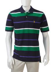 U.S. Polo Assn. Men's Large Striped Polo - Grey - Size: L