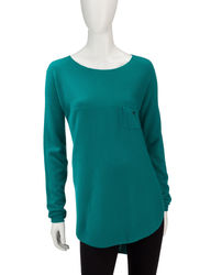 Hannah Women's Solid Color Ribbed Knit Tunic Sweater - Teal - Size: Medium
