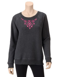 Fresh Women's Bead Embellished Sweatshirt - Charcoal Grey - Size: Medium