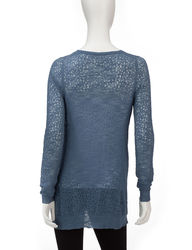 Hannah Women's Solid Color Pointelle Knit Tunic Sweater - Heather Grey - L