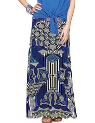 Hannah Women's Multicolor Mixed Deco Print Maxi Skirt - Blue - Size: S