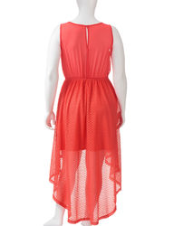 Liberty Love Women's Junior Hi-Low Geo Lace Maxi Dress - Coral - Size: 1X