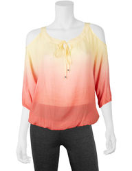 A. Byer Juniors Girls Ombre Gauze Knit Top - Yellow/Orange - Size: Small