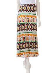Hannah Women's Multicolor Mixed Print Maxi Skirt - Multi - Size: XL