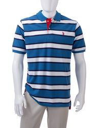 U.S. Polo Assn. Men's Stripe Polo Shirt - Orange - Medium