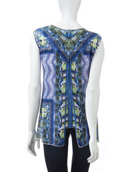 Energe Women's Multicolor Mixed Print Chiffon Overlay Top - White - Sz: XL