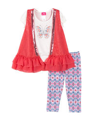 Pinky Girls 3-Pc Butterfly Top&Floral Print Leggings Set - Multicolor/4-6x