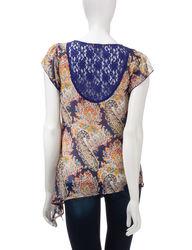 Energe Women's Paisley Print Asymmetrical Chiffon Top - Blue - Size: Large