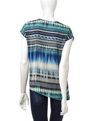 Energe Women's Ikat Print Asymmetrical Top - Multi - Size: Large