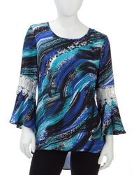 Zac & Rachel Women's Abstract Brushstroke Print Hi-Lo Top - Black/Blue - P