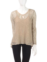OneWorld Women's Hi Lo Shimmery Sheer Top - Heather Grey/Gold - Size: L