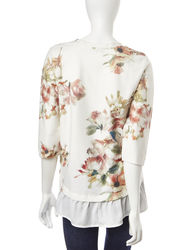 Hannah Women's Floral Hi-Lo Layered-Look Top - Ivory - XL