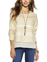 Hannah Women's Oatmeal Lace Accented Top - Beige - Size: Medium
