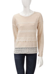 Hannah Women's Oatmeal Lace Accented Top - Beige - Size: Large