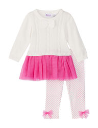 Blueberi Baby Girl 2 Piece Sweater & Leggings Set - Ivory/Pink - 12/24 Mos
