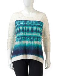 L.A. Threads Women's Tie-Dye Front Knit Top - Beige / Blue - Size: 2X