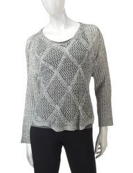 Hannah Women's Marled Diamond Knit Sweater - Ivory/Grey - Size: Small