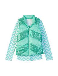 Self Esteem Girl's 2 Pc T-Shirt & Sequins Chevron Vest - Mint - Size: XL