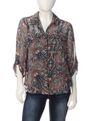Rebecca Malone Women's Abstract Print Popover Top - Brown Multi - P/XL