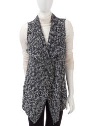 Signature Studio Women's Marled Zip Front Sweater Vest - Black - Sz: Large