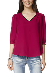 A. Byer Women's Berry Lattice Back Woven Top - Berry - Large