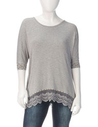 Earl Jeans Women's Petite Heatseal Crochet Top - Grey - Size: P/Small