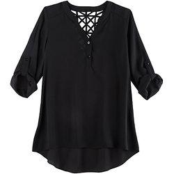 A. Byer Juniors Girls Lattice Back Blouse - Black - Size: Large