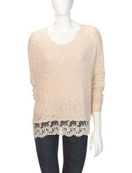 Signature Studio Women's Marled Knit Lace Trim Sweater - Beige - Size: XL