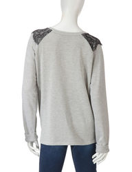 Hannah Women's Opal Mix Lace Sweatshirt - Grey - Size: Large