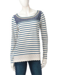 Hannah Women's Mixed Embroidered Striped Top - Blue/White - Size: S