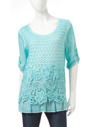 Hannah Women's Ombre Print Lace Panel Top - Orange - Size: XL