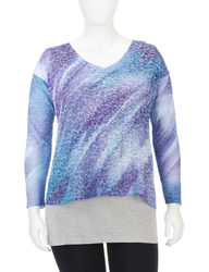 LA Threads 2 Pcs Women's Layered Top - Multi - Size: 1X