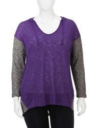 L.A. Threads Women's Purple & Grey Pullover Hoodie - Purple Grey - Sz: 1X