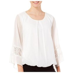 A. Byer Women's Lace Inset Bell Sleeve Top - White - Size: Medium
