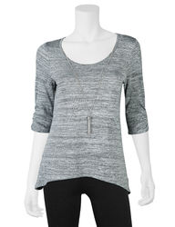 A. Byer Girls Juniors Necklace & Sharkbite Hem Top - Grey - Size: Large