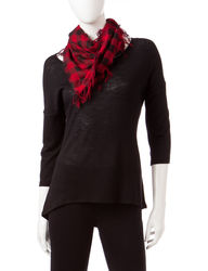 Heart Soul Women's 2-pc. Hi-Lo Top & Scarf Set - Black/Red - Small