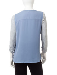 Ny Collection Women's Metallic Tulip Front Sweater - Ice Blue - Size: XL