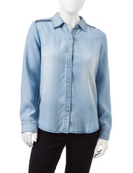 Earl Jean Women's Petite Embroidered Chambray Top - Blue - Size: P/XL