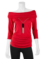 A. Byer Junior Girls Knit Cowl Necklace Top - Red - Size: Medium