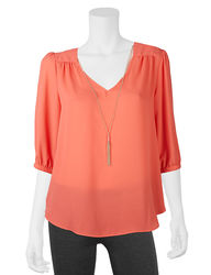 A. Byer Women's Lattice Back Top & Necklace - Coral - Large