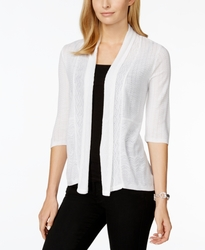 NY Collection Women's Solid Color Knit Cardigan - White - Size: Large