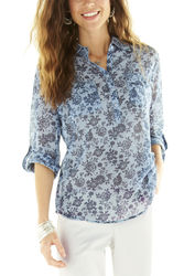 Hannah Women's Floral Chambray Top - Light Blue - Size: XL
