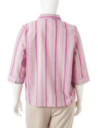 Rebecca Malone Women's Plus-size Neutral Striped Woven Top - Pink - Sz: 1X