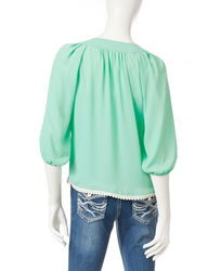 My Michelle Women's Crochet Front Peasant Top - Mint - Size: XL