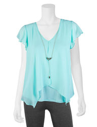 A. Byer Girl's Flutter Sleeve Top & Necklace - Mint - Size: Small